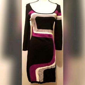 BCBGMaxAzria Black Purple Sweater Dress Cotton